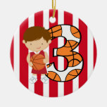 3rd Birthday Red and White Basketball Player Christmas Ornament