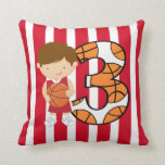 3rd Birthday Red and White Basketball Player Pillow