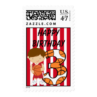 3rd Birthday Red and White Basketball Player Postage