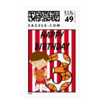 3rd Birthday Red and White Basketball Player Postage Stamp