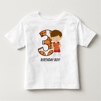3rd Birthday Red and White Basketball Player Toddler T-shirt