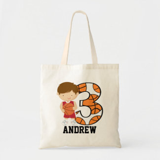 3rd Birthday Red and White Basketball Player Tote Bag