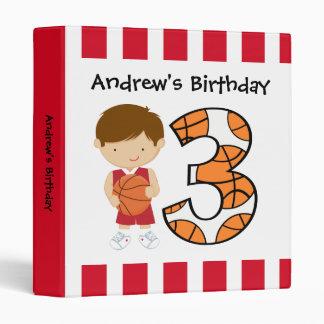 3rd Birthday Red and White Basketball Player v2 Vinyl Binder