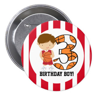 3rd Birthday Red and White Basketball Player v2 3 Inch Round Button