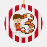 3rd Birthday Red and White Basketball Player v2 Christmas Tree Ornament