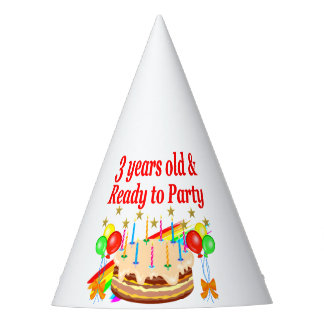 3RD BIRTHDAY RED RAINBOW CAKE DESIGN PARTY HAT