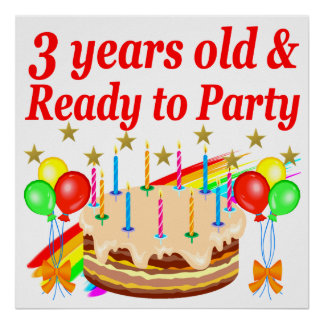 3RD BIRTHDAY RED RAINBOW CAKE DESIGN POSTER