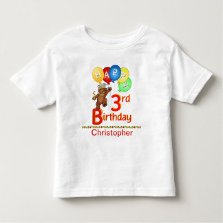 3rd Birthday Regal Teddy Beary Custom Name Toddler T-shirt