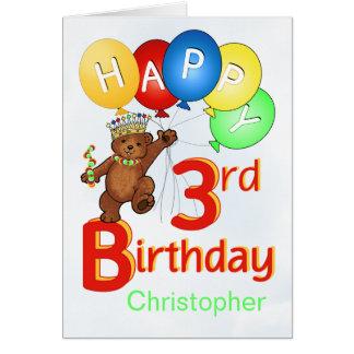 3rd Birthday Royal Teddy Bear Card