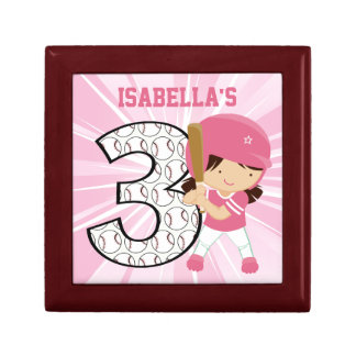 3rd Birthday Softball Batter Pink and White Trinket Boxes