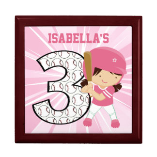 3rd Birthday Softball Batter Pink and White Gift Boxes