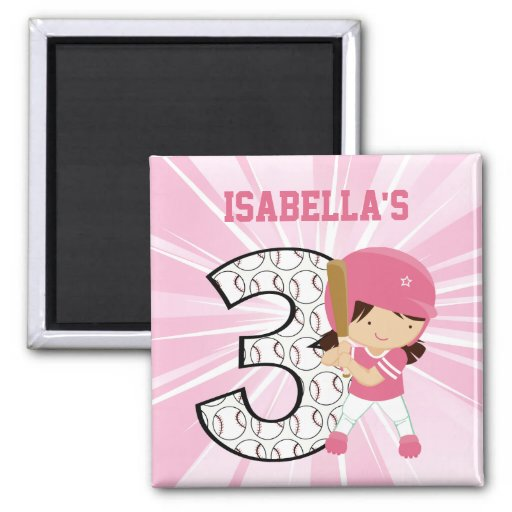 3rd Birthday Softball Batter Pink and White Refrigerator Magnets