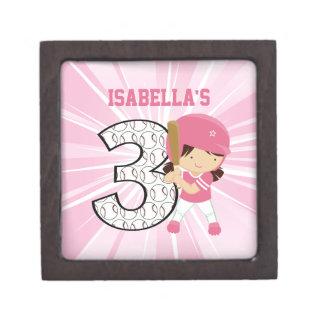 3rd Birthday Softball Batter Pink and White Premium Trinket Box