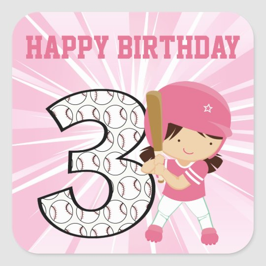 3rd Birthday Softball Batter Pink and White Square Sticker