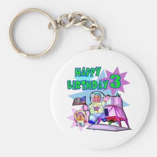 3rd Birthday Space Birthday Keychain