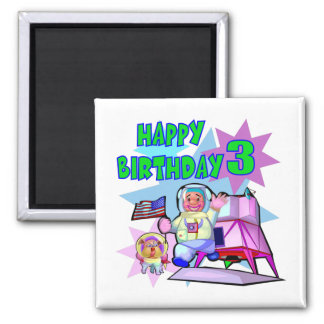 3rd Birthday Space Birthday Fridge Magnet