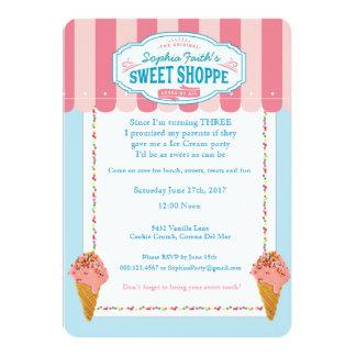 3rd Birthday Sweet Ice Cream Party Invitations
