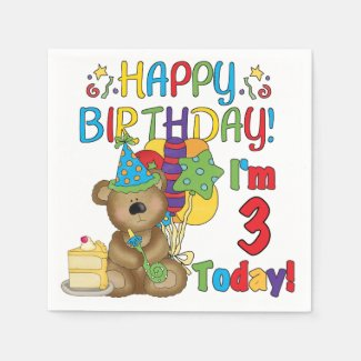 3rd Birthday Teddy Bear Birthday Paper Napkins