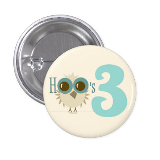 3rd Birthday Toddler Baby Owl Theme Turquoise Buttons