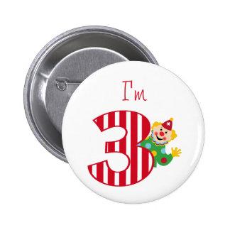 3rd Birthday Waving Circus Clown Button