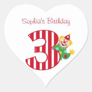 3rd Birthday Waving Circus Clown Heart Stickers