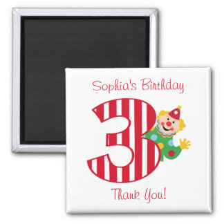3rd Birthday Waving Circus Clown Magnet
