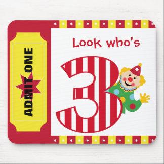 3rd Birthday Waving Circus Clown Mousepad
