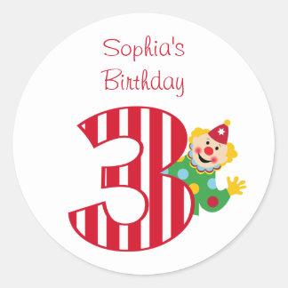3rd Birthday Waving Circus Clown Round Stickers