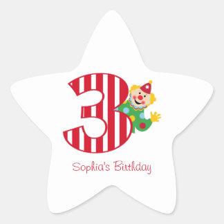 3rd Birthday Waving Circus Clown Star Stickers