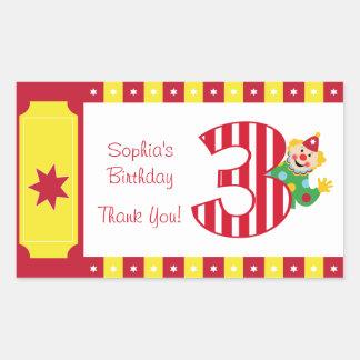 3rd Birthday Waving Circus Clown Stickers