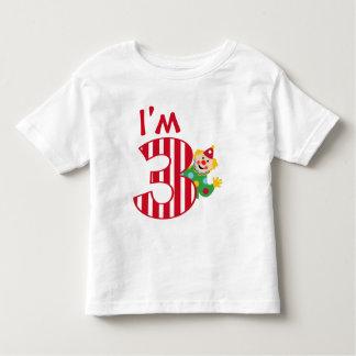 3rd Birthday Waving Circus Clown T-Shirt