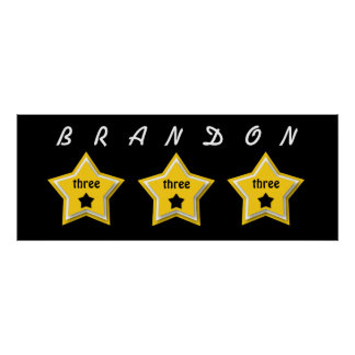 3rd Birthday with Layered Stars GOLD BLACK A07 Poster