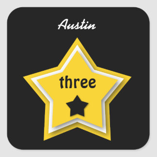 3rd Birthday with Layered Stars GOLD BLACK Square Sticker