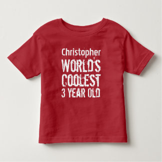 3rd Birthday World's Coolest 3 Year Old RED Toddler T-shirt
