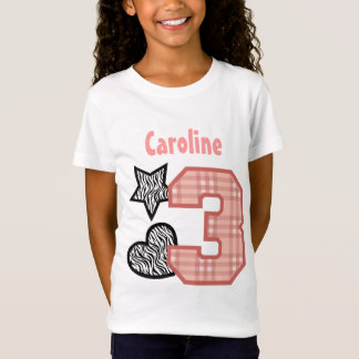 3rd Birthday Zebra Hearts Plaid 3 Year Old 10A4 T-Shirt
