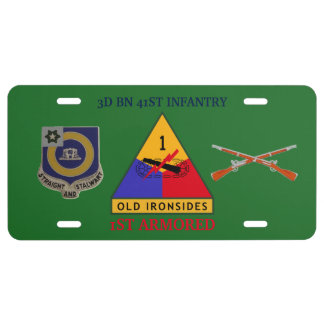 3RD BN 41ST INFANTRY 1ST ARMORED LICENSE PLATE