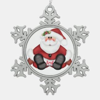 3rd Christmas Santa Snowflake Pewter Christmas Ornament