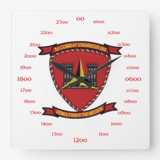 3rd Combat Engineer Battalion Square Wall Clock