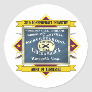 3rd Confederate Infantry Classic Round Sticker