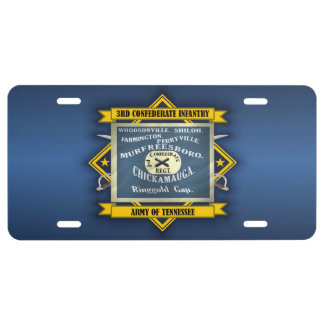 3rd Confederate Infantry License Plate