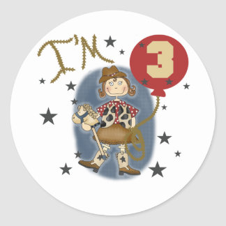 3rd Cowgirl Birthday Tshirts and Gifts Classic Round Sticker