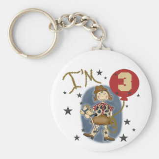 3rd Cowgirl Birthday Tshirts and Gifts Basic Round Button Keychain