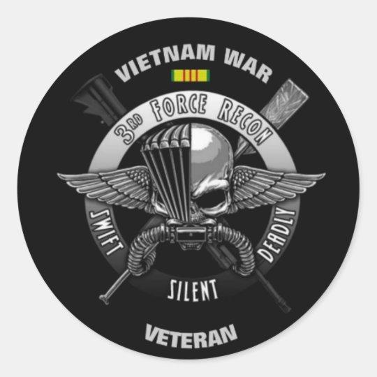 3166ad1bda1 3RD FORCE RECON VIETNAM WAR VETERAN CLASSIC ROUND STICKER