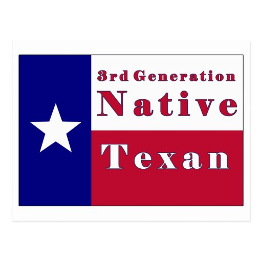 3rd Generation Native Texan Flag Postcard