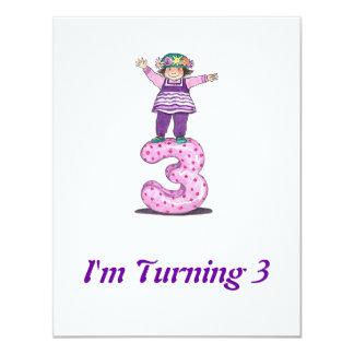 3rd Girls Birthday Invitation