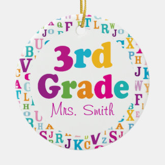 3rd Grade Personalized School Teacher Ornament