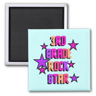 3rd Grade Rock Star Tshirts and Gifts 2 Inch Square Magnet