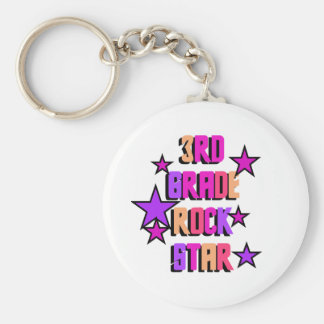 3rd Grade Rock Star Tshirts and Gifts Key Chains