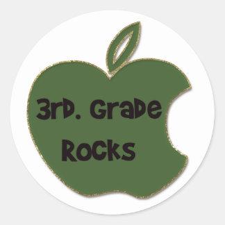 3rd. Grade Rocks Round Stickers