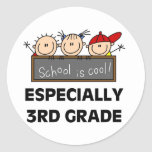 3rd Grade School is Cool Classic Round Sticker